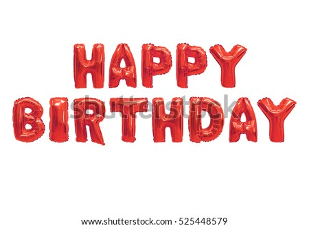 Word happy birthday in english alphabet from red balloons on a white background. holidays and education.