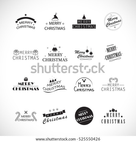Christmas icons set - vector illustration. Thin line. Collection of old typographic tree, snowflake and xmas symbols shape. Hand drawn retro style. Graphic design, xmas 2017 creative concept #525550426