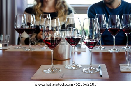 Wine tasting experience in Langhe (Italy) with three glasses of Nebbiolo on a table #525662185