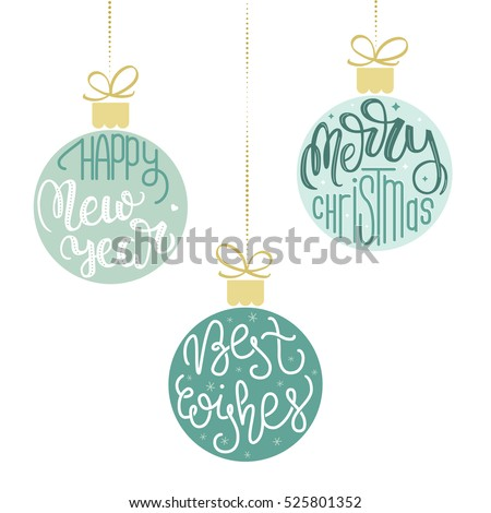Set of three hanging Christmas ornaments. Vector illustration