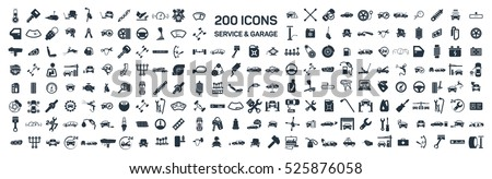 Car service & garage 200 isolated icons set on white background, repair, car detail  Royalty-Free Stock Photo #525876058