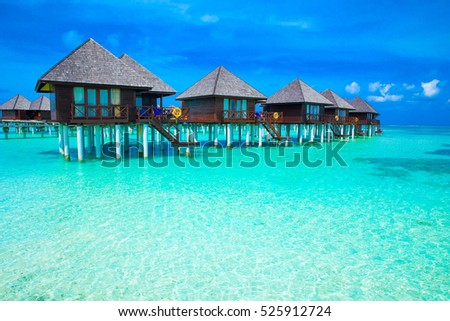 beach in Maldives with few palm trees and blue lagoon #525912724