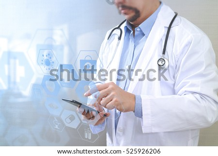 Medical technology concept. Doctor hand working with modern smart phone with  chart interface,multi-channel connection,white background #525926206