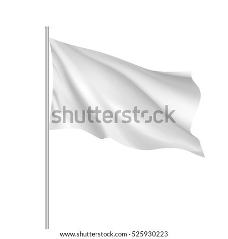 White waving flag template. Clean horizontal canvas, for your design. Empty blank of flag on flagpole. Vector 3d mockup. #525930223