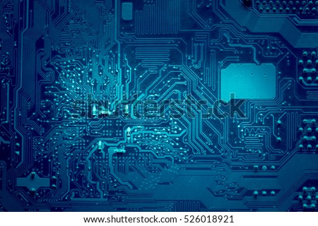Computer electronic circuit. Blue color, faded at the sides. #526018921