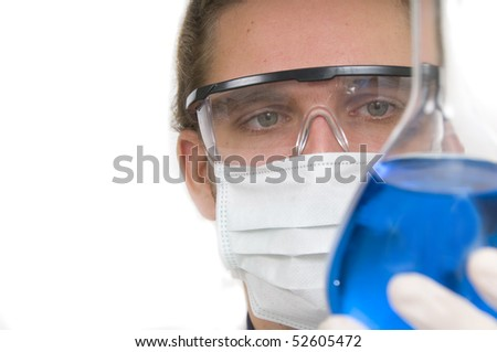 Scientist pouring chemicals in a laboratory #52605472