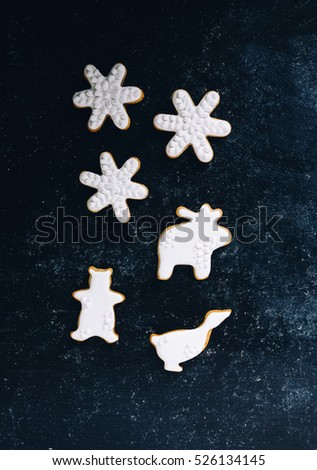 Snowflake, bear, moose and goose frosted cookies #526134145