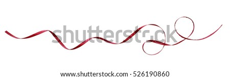 Red silk ribbon isolated on white Royalty-Free Stock Photo #526190860
