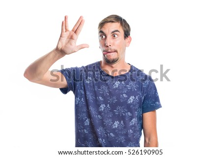 Young geek boy making a gesture with his hand isolated on white background