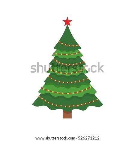 Beautiful elegant green Christmas tree. Bright garland. Vector illustration on a white background. Modern flat design.