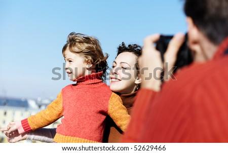 Happy family shooting
