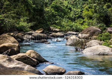 Stream flowing in tropical forest at Khao Sok National Park Suratthani, Thailand. #526318303
