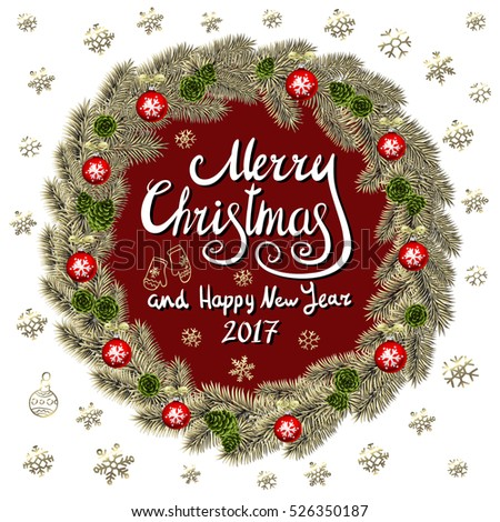 Merry Christmas And Happy New Year 2017 Vintage Background With Typography card with gold Christmas wreath. illustration. art #526350187