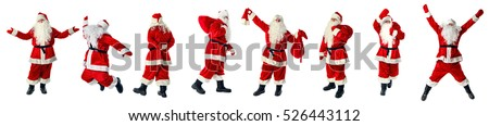 Set of Santa Claus. Santa Claus in full growth. Santa Claus isolated on white.