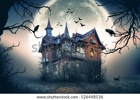 Haunted House with Dark Horror Atmosphere. Haunted Scene House. Royalty-Free Stock Photo #526448536