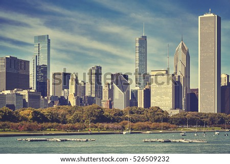 Retro toned picture of Chicago skyline, USA.