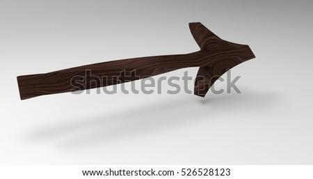 Wood 3D Illustration Of An Arrow On A Light Masked Transparent Background #526528123