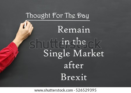 Thought For The Day message of Remain in the Single Market after Brexit written on a School Blackboard by the teacher. #526529395