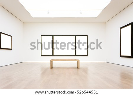 Modern Art Museum Frame Wall Clipping Path Isolated White Vector Illustration Template Royalty-Free Stock Photo #526544551