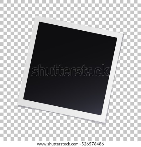 Photo frame with shadow on isolate background with a slope to the right, vector template for your stylish photos or images, EPS10 #526576486