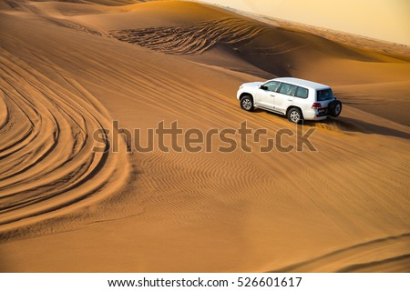 Offroad desert safari in Dubai. (dune bashing). #526601617