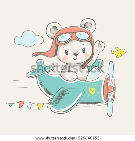Cute bear flying on a plane cartoon hand drawn vector illustration. Can be used for t-shirt print, kids wear fashion design, baby shower invitation card.