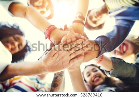 College Students Teamwork Stacking Hand Concept Royalty-Free Stock Photo #526769410