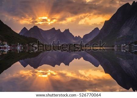 Sunset over fjord in Norway. Lofoten Islands #526770064