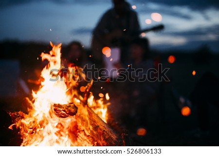 Bonfire with sparks flying around #526806133