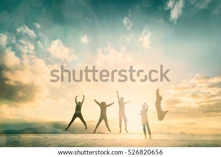 Happy family people group celebrate jump for good life on weekend concept for win victory, person faith in financial freedom healthy wellness, Great employee team support retreat together in summer. Royalty-Free Stock Photo #526820656