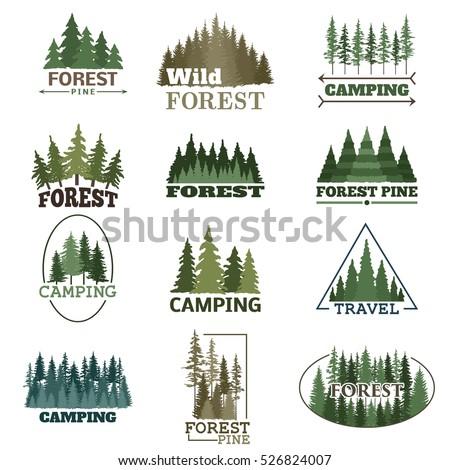 Forest badge vector set.