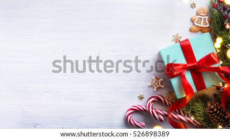art Christmas holidays composition on white wooden background with Christmas tree decoration and copy space for your text