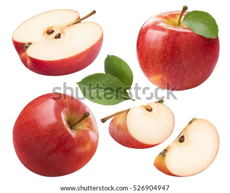 Red apple whole pieces set isolated on white background as package design element Royalty-Free Stock Photo #526904947