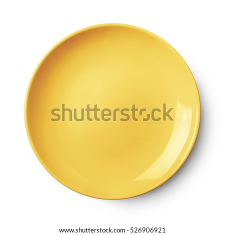 Empty ceramic round plate isolated on white background with clipping path Royalty-Free Stock Photo #526906921