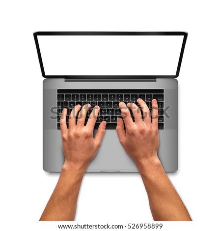 Man hands working on laptop with blank screen, top view shot. on white background