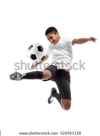 African-American youth football player on white background #526961128