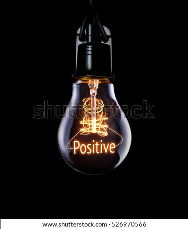 Hanging lightbulb with glowing Positive concept. #526970566