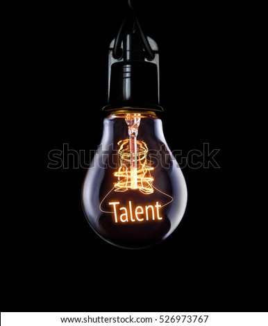 Hanging lightbulb with glowing Talent concept. Royalty-Free Stock Photo #526973767