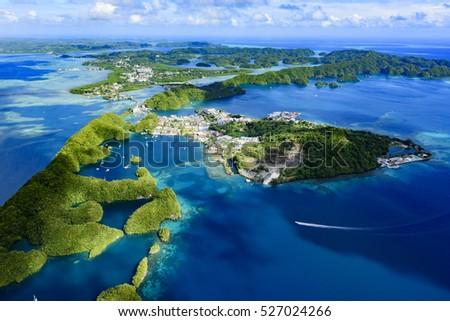 Full view of Palau Malakal Island and Koror - World heritage site - #527024266