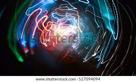 Abstract background of night light on street , long exposure shot #527094094
