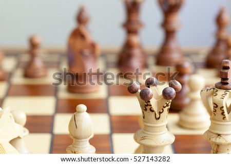 closeup of chess pieces on chessboard #527143282
