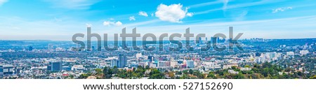 Panoramic view of Los Angeles under a blue sky, California #527152690