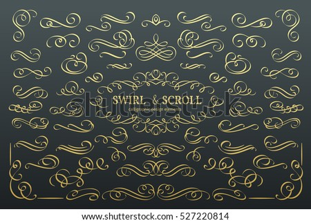Set vector flourishes. Calligraphic and page decoration design elements. Swirl, scroll and divider. . Golden design elements, page decoration.