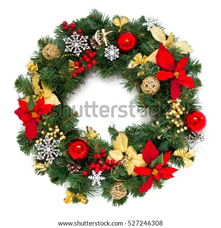 Christmas wreath, isolated on white #527246308
