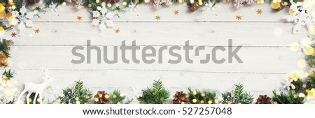 Christmas background on the white wooden desk #527257048
