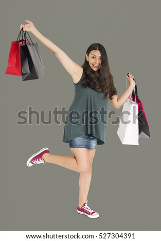 Cheerful Female Shopping Bags Studio Concept #527304391