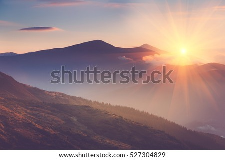 Beautiful landscape in the mountains at sunrise. View of foggy hills covered by forest. Filtered image:cross processed retro effect.  Royalty-Free Stock Photo #527304829
