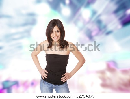 Portrait of a young happy woman over abstract background #52734379