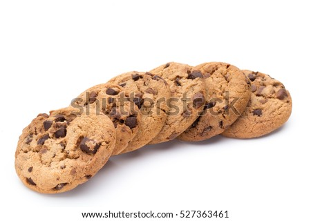 Chocolate chip cookie on white background. #527363461