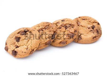 Chocolate chip cookie on white background. #527363467